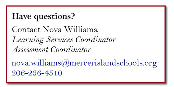 Nova Williams, Learning Services Coordinator Assessment Coordinator, 206-236-4510
