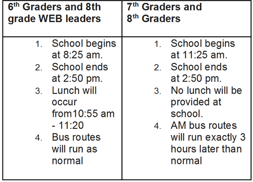 schedule for first day of school
